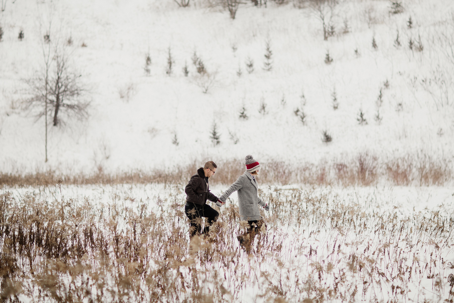 Fun-loving Couple Go For Winter Engagement Photoshoot in Toronto